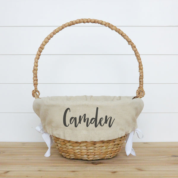 Personalized Easter Basket Liner with Camden Font on Natural liner