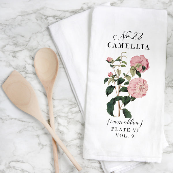 Botanical Camellia Tea Towel - Porter Lane Home