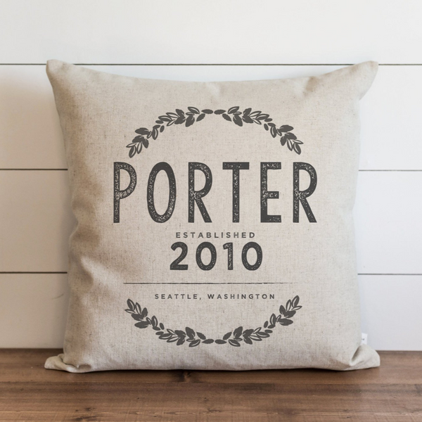 Custom Last Name Est. Date Pillow Cover. - Porter Lane Home