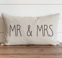 Mr & Mrs_CAPS Pillow Cover. - Porter Lane Home