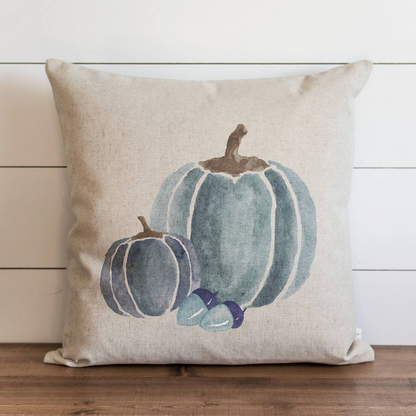 Watercolor Pumpkins Pillow Covers {Blue}.