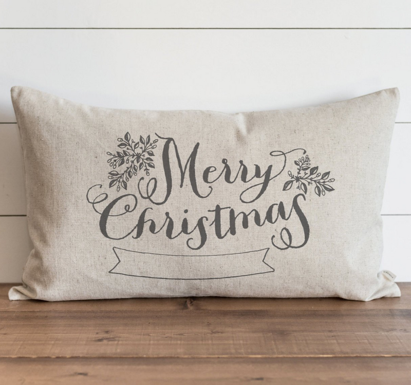 Merry Christmas Banner Pillow Cover. - Porter Lane Home