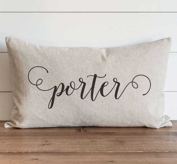 Scroll Last Name Pillow Cover. - Porter Lane Home