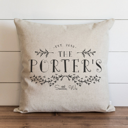 Custom Last Name_Est Date_Location Pillow Cover. - Porter Lane Home