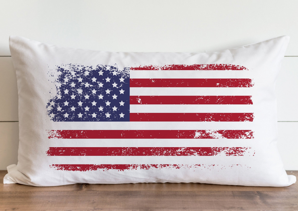 Distressed US Flag_Color Pillow Cover. - Porter Lane Home