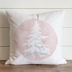 Pink Flocked Tree Pillow Cover. - Porter Lane Home