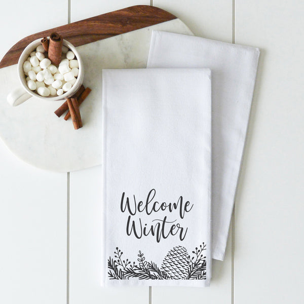 Welcome Winter Pine Cone Tea Towel