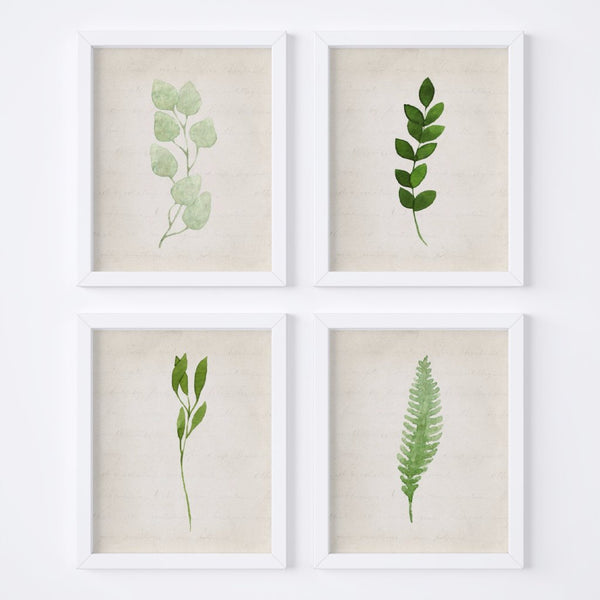 Watercolor Foliage Vintage Background {Style 1} Wall Art Set - Porter Lane Home