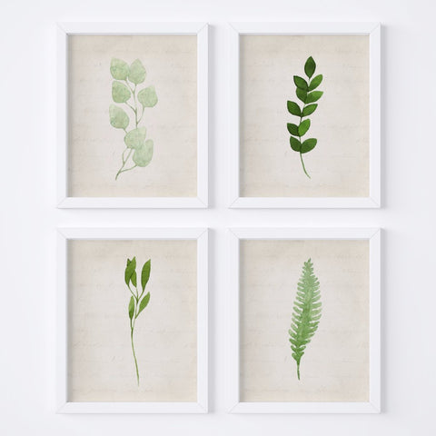 Watercolor Foliage Vintage Background {Style 1} Wall Art Set