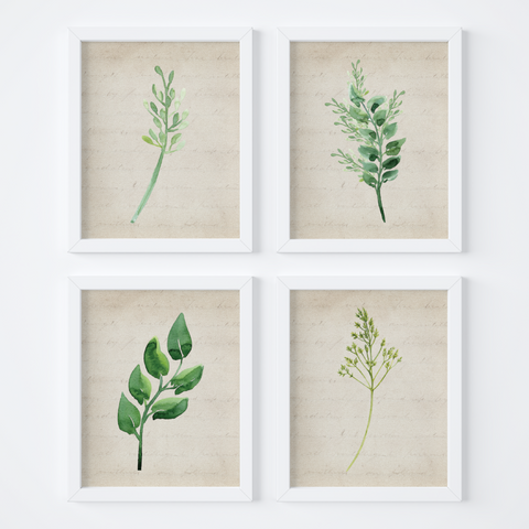 Watercolor Foliage Vintage Background {Style 2} Wall Art Set
