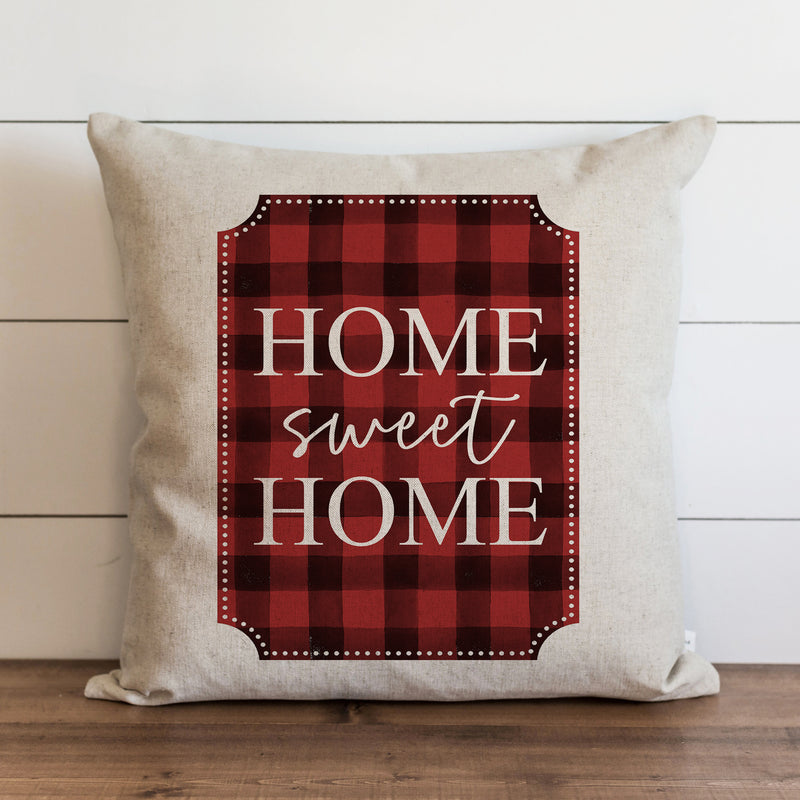 Home Sweet Home Buffalo Plaid {Red} Pillow Cover. - Porter Lane Home