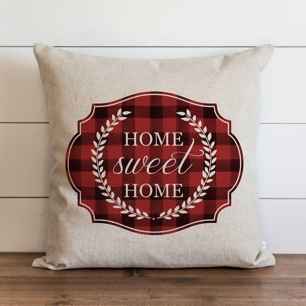 Home Sweet Home Laurel Wreath Buffalo Plaid {Red} Pillow Cover. - Porter Lane Home