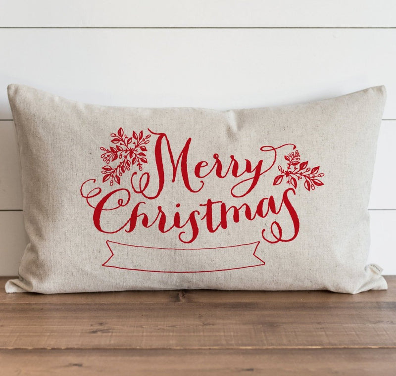 Merry Christmas Banner_Color Pillow Cover. - Porter Lane Home