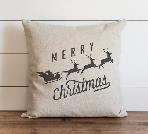 Merry Christmas Santa & Sleigh Pillow Cover. - Porter Lane Home
