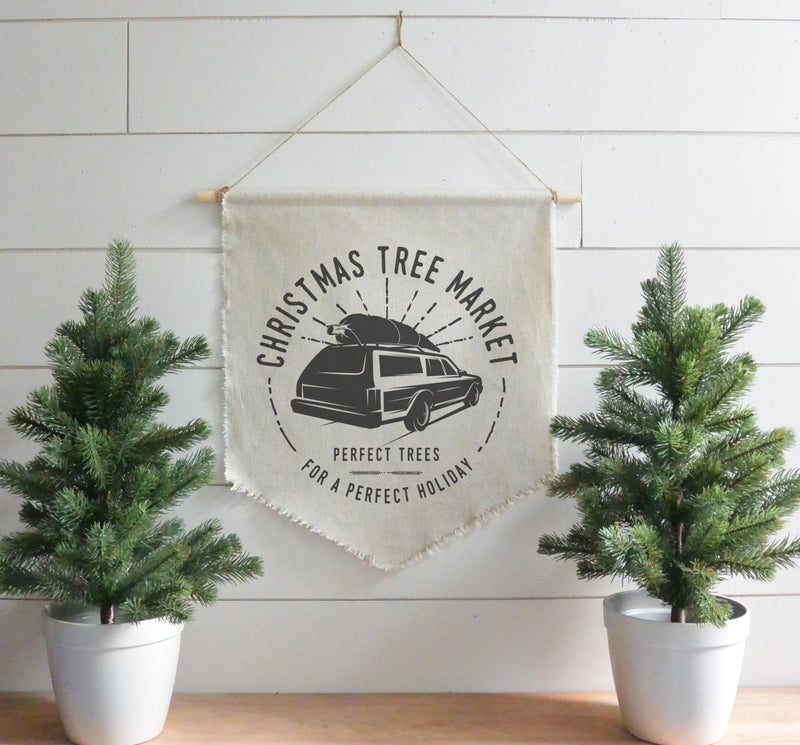 Christmas Tree Market Hanging Wall Banner // Christmas // Holiday // Wall Art // Gift  // Pennant // Wall Decor - Porter Lane Home