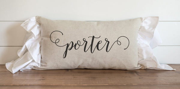 Scroll Last Name Pillow Cover - Porter Lane Home