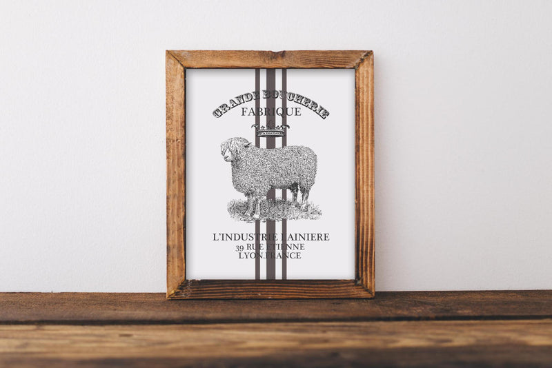 Sheep Wall Art // Grain Stripe // Farmhouse // Wall Decor // Signs // Art // Hanging - Porter Lane Home
