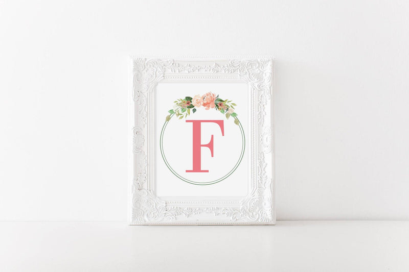 Floral Monogram Wall Art // Nursery // Little Girls Room // Greenery // Floral // Wall Decor // Signs // Art // Hanging - Porter Lane Home