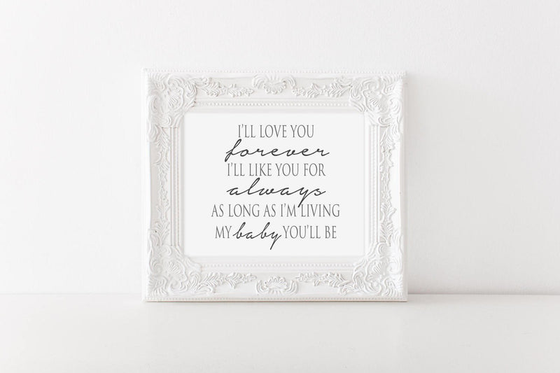 Love You Forever_Baby Wall Art // Wall Decor // Signs // Art // Hanging - Porter Lane Home
