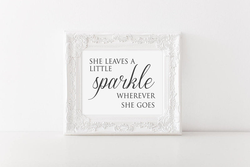 She Leaves a Little Sparkle Wall Art // Nursery // Wall Decor // Signs // Art // Hanging - Porter Lane Home
