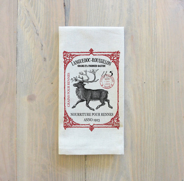 Vintage Reindeer Napkin_Christmas, table setting, tableware, place setting, housewarming gift, party, dinner, event