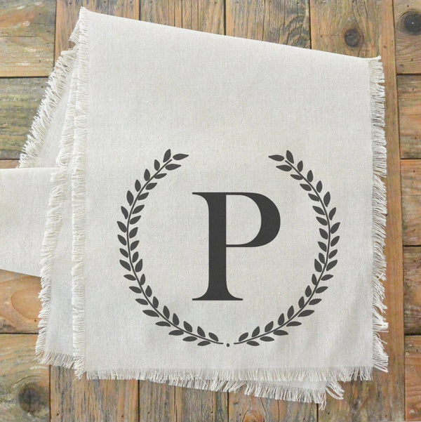 Monogram Laurel Wreath Table Runner - Porter Lane Home
