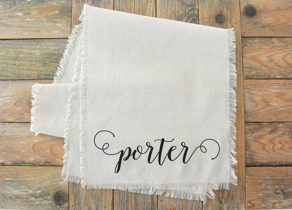 Scroll Last Name Table Runner - Porter Lane Home