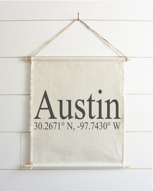 Coordinates Hanging Wall Banner // Everyday // Wall Art // Gift  // Pennant // Wall Decor // Housewarming // Wedding - Porter Lane Home