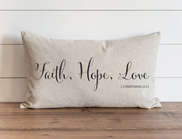 Faith, Hope, Love 16 x 26 Pillow Cover // Everyday // Throw Pillow // Accent // Faith // Housewarming // Wedding Gift // Gift For Them - Porter Lane Home
