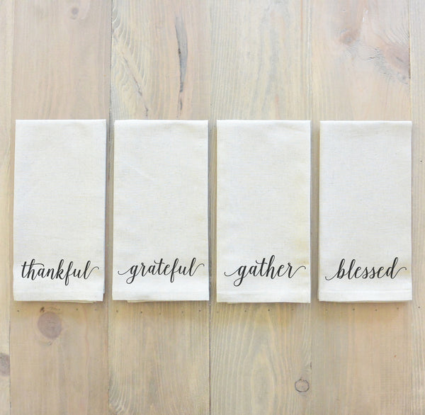 Thankful, Grateful, Gather, Blessed Napkin Set - Porter Lane Home