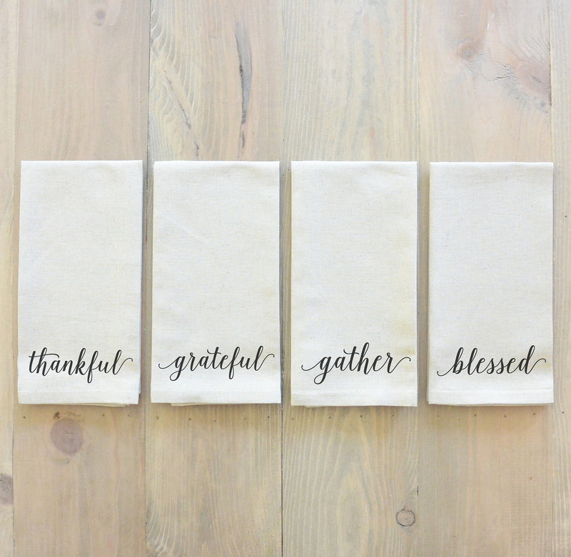 Thankful, Grateful, Gather, Blessed Napkin Set_table setting, tableware, housewarming, party, dinner, event, thanksgiving, fall
