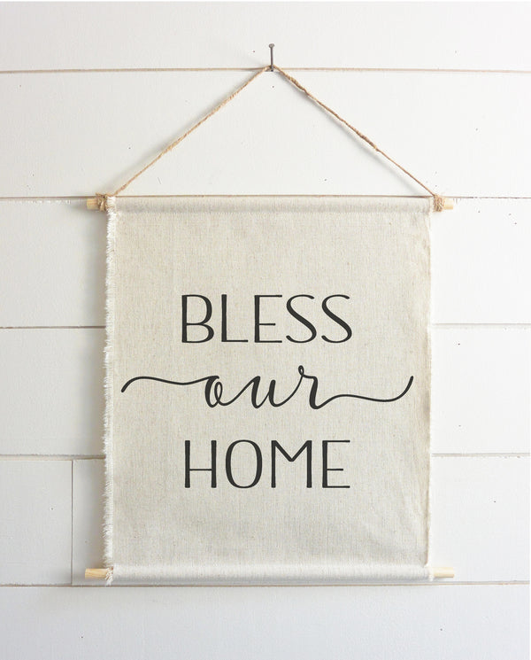 Bless Our Home Hanging Wall Banner // Everyday // Wall Art // Gift  // Pennant // Wall Decor // Housewarming - Porter Lane Home