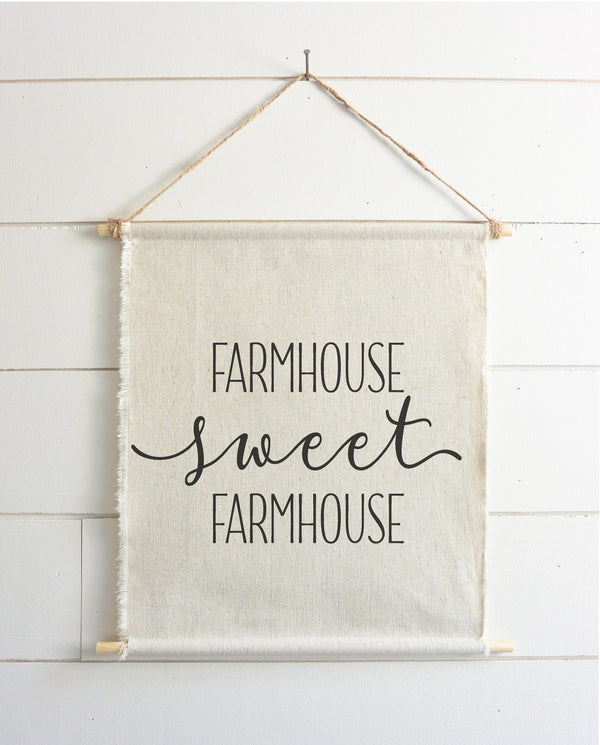 Farmhouse Sweet Farmhouse Hanging Wall Banner // Everyday // Wall Art // Gift  // Pennant // Wall Decor - Porter Lane Home