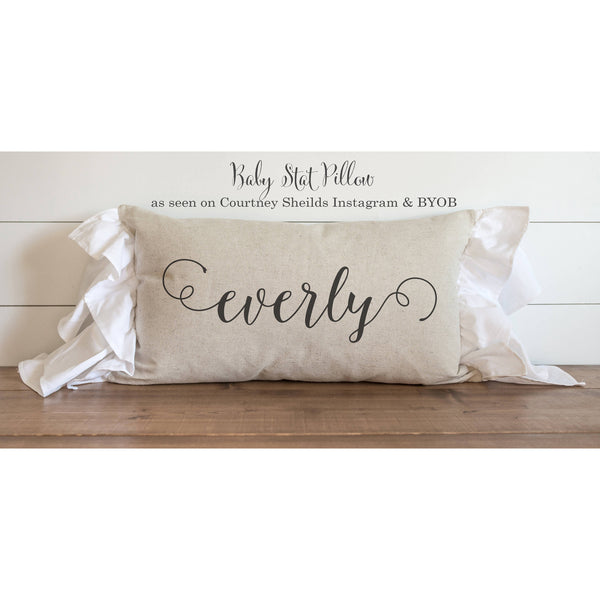 Baby Stat 16 x 26 Pillow Cover_ seen on Courtney Sheilds Instagram BYOB  // Birth Announcement // Newborn // Photo Prop // Gift - Porter Lane Home