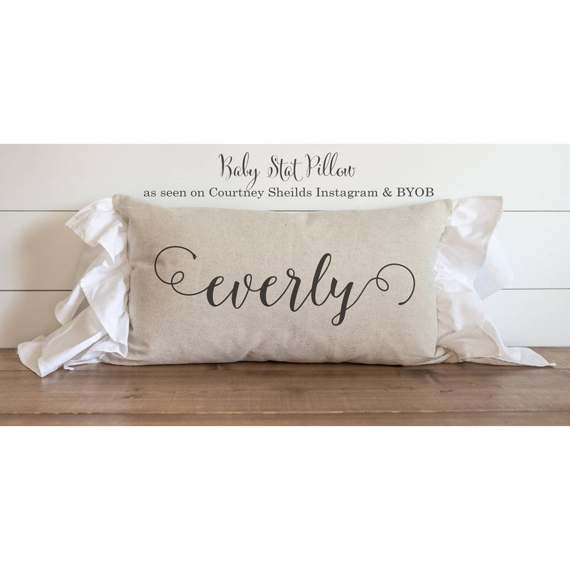 First Name Baby Stat Pillow Cover. - Porter Lane Home
