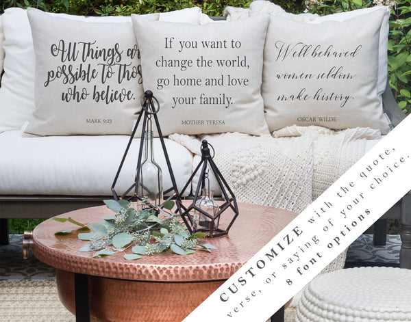 Custom Quote Pillow Cover // 20 x 20 Pillow Cover // Throw Pillow // Home Decor // Custom Pillow Cover // Inspirational Quotes - Porter Lane Home