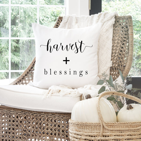 Fall Pillow Cover // Harvest + Blessings // Decor // Autumn Pillow Cover // Thanksgiving Home Decor // Fall Home Decor // Farmhouse Decor - Porter Lane Home