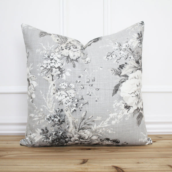 Gray Floral Pillow Cover