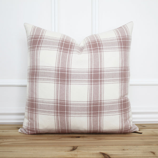 Pink Plaid Pillow Cover