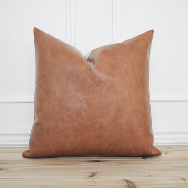 Cognac Faux Leather Pillow Cover