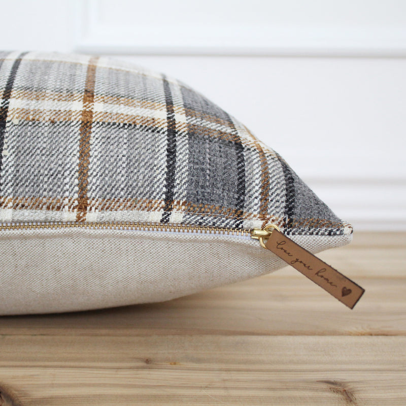 Gray Plaid Pillow Cover