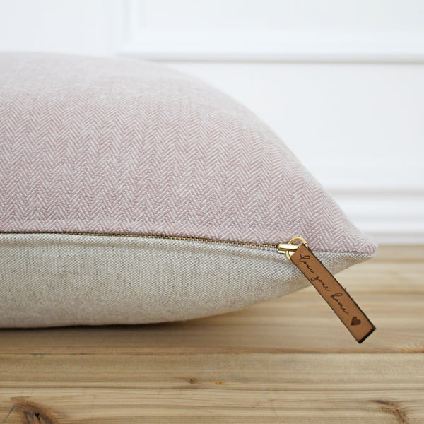 Blush Stripe Flannel Pillow Cover