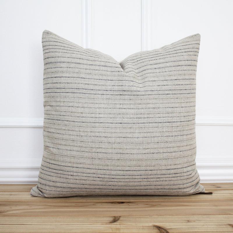 Tan and Gray Stripe Pillow Cover