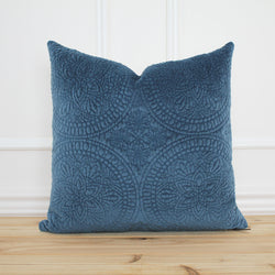 Blue Velvet Medallion Pillow Cover