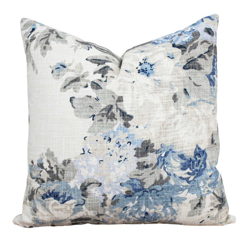 Blue Floral Pillow Cover