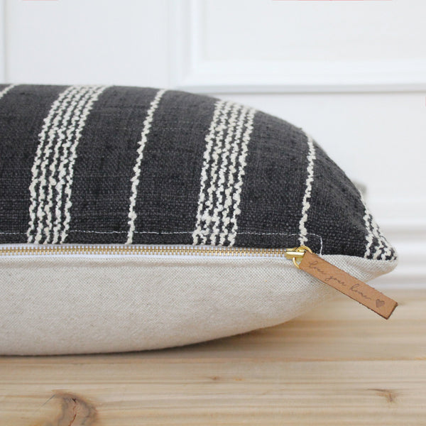 Black Stripe Pillow Cover • Farmhouse Pillow • Decorative Pillow • Fall Pillow Cover • Modern Pillow Cover • 20 x 20 • 16 x 26 || Boston