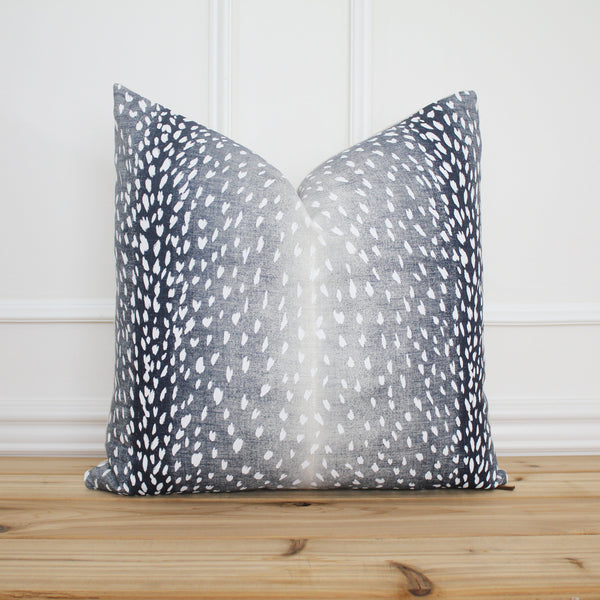 Antelope Pillow Cover Indigo • Animal Print Pillow Cover • 20 x 20 Pillow • Designer Pillow • Decorative Pillow | Evelyn Indigo