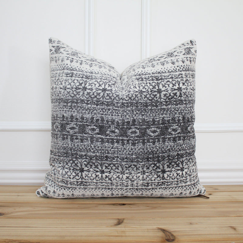 Gray Aztec Inspired Pillow Cover • Modern Pillow • Grey Decorative Pillow • Fall Pillow Cover • Farmhouse • 20 x 20 • 16 x 26 || Winter