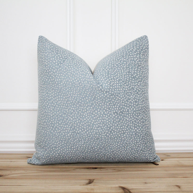 Blue Dot Pillow Cover • Blue Spot Pillow • Blue 20x20 Textured Pillow • Designer Pillow • Decorative Pillow • Lumbar Pillow Cover | Sky