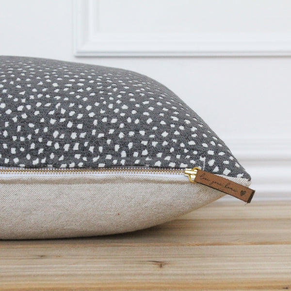 Charcoal Dot Pillow Cover • Gray Spot Pillow • Grey 20x20 Textured Pillow • Designer Pillow • Decorative Pillow • Lumbar Pillow | Chloe